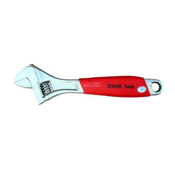 8 Inch Stainless Steel Adjustable Wrench with Red Handle Hmbr Brand