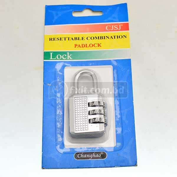 3 Digit Silver Color Resettable Combination Padlock Changhao Brand