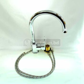 Solid Brass Stainless Steel Long Neck Single Bottom Up Lever Bibb Cock including 2 Pcs Aluminium Connection Pipe