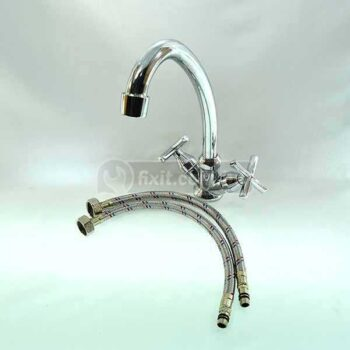 Stainless Steel Single Outlet Mixer Kitchen Faucet including 2 pcs Aluminium Connection Pipe