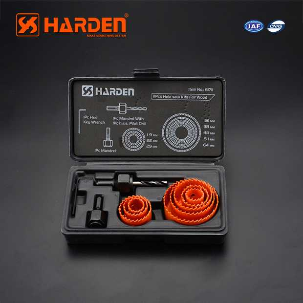 High Carbon Steel Professional 11PCS Hole Saw Kits For Wood Harden Brand 610546