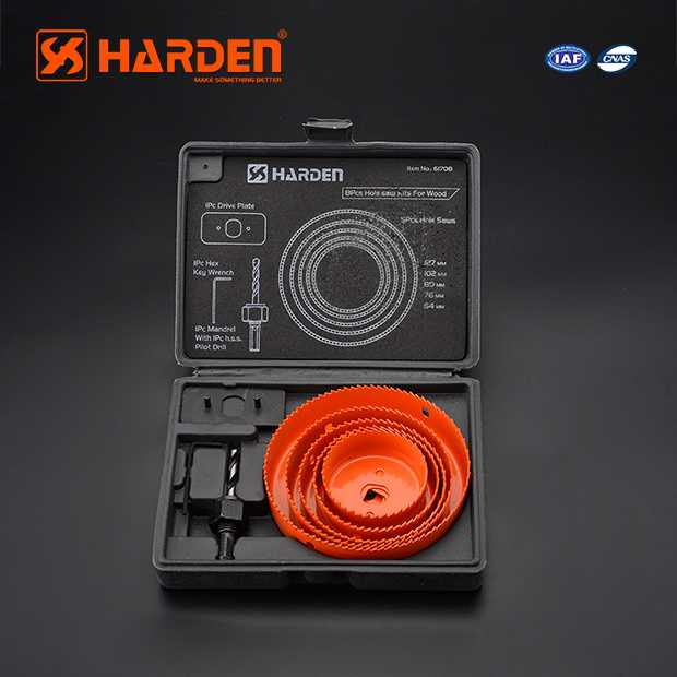 High Carbon Steel Professional 8PCS Hole Saw Kits For Wood Harden Brand 610545