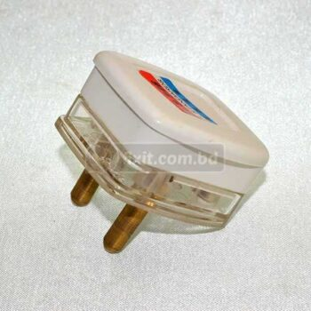 2 Round Pin White & Transparent Cable Plug
