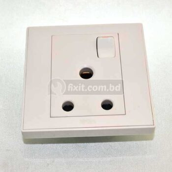 White Color 3 Round Pin Single Inlet Switch Socket