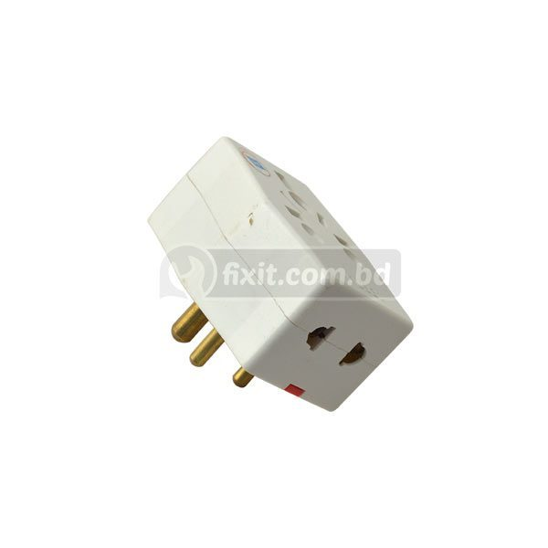15 Amp 250 Volt White Color 3 Round Pin Type Multi Plug 5 Inlets