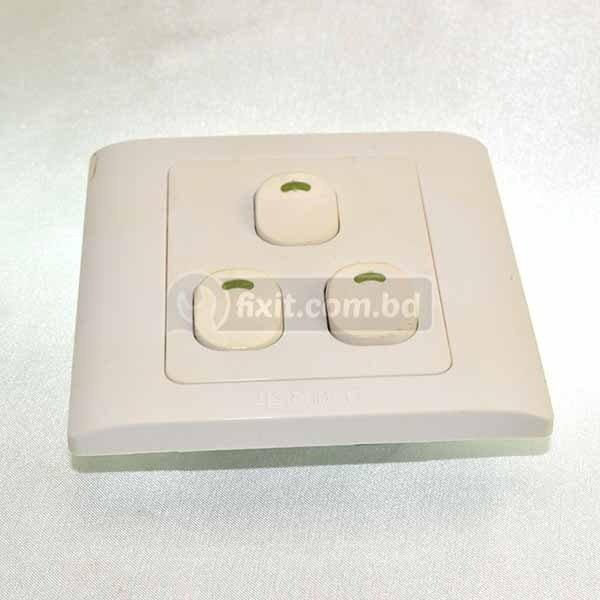 220V White Color 3 Gang Switch