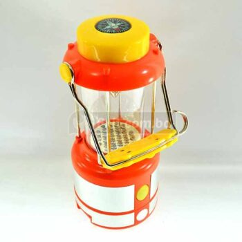 Yellow and Red Lantern Lamp with Compass on top great for Outdoors and Camping