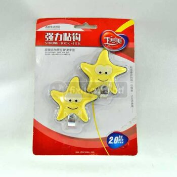 2.5 Inch Blue Star Cute Face Adhesive Picture Hook (Sticks to Wall)