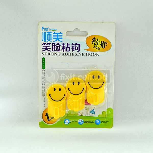 3 Pcs Yellow Smiley Face Strong Adhesive Picture Hook (Sticks to Wall)