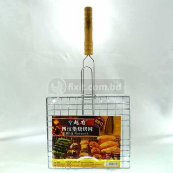 Stainless Steel Small Size BBQ Tray & Tong with Wooden Handle