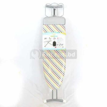 Home T-Leg Adjustable Height 1.5 ft. x 3 ft. Cloth Ironing Board with White Patterned Cotton Cover
