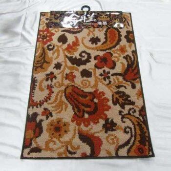 35 Inch X 24 Inch Round Corner Red Color Floral Design Non Slip Floor Door Carpet DDD65