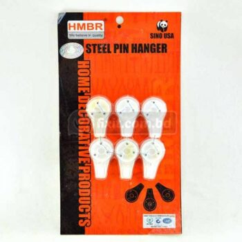 6 Pcs Packet White Color Steel Pin Hanger Picture Hook HMBR Brand (Nail to Wall)