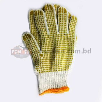 Cotton Hand Gloves With Yellow Rubber Grip Dots for Welding  Masonry Electrical & Other Heavy Duty Work