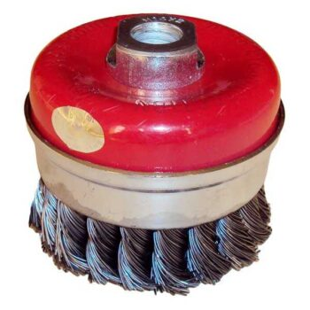 3 Inch Twisted Cup Wire Brush with Nut HMBR Brand