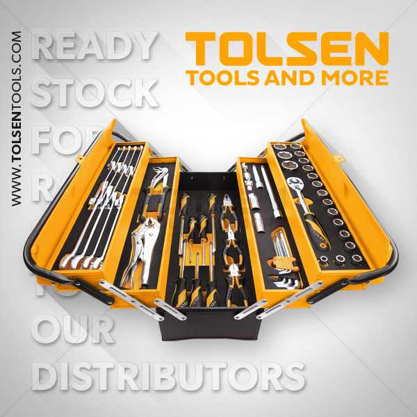 19.5 Inch 5 Tray Heavy Duty Tool Box with 60pcs Accessories Tolsen Brand 85401