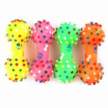 Squeaky Dog Chew Toy – Dumbbell Shape 1piece (Random Color)