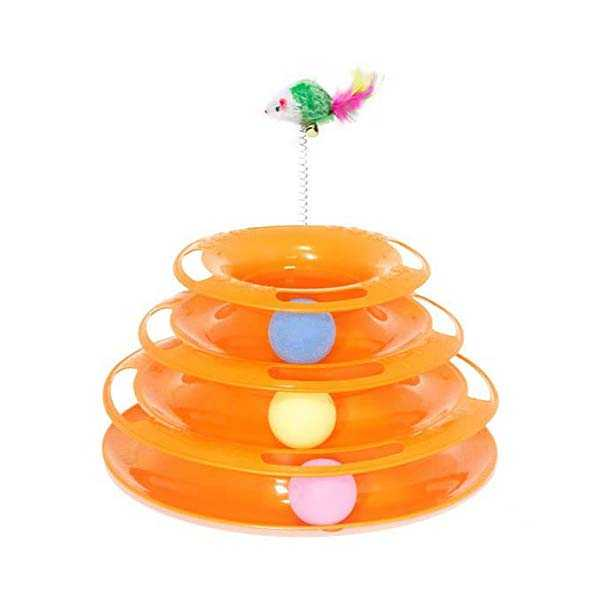 Tower of Tracks with Mouse Interactive Cat Toy (Random Color)