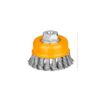 75mm Cup Twist Wire Brush With Nut Ingco Brand WB20752