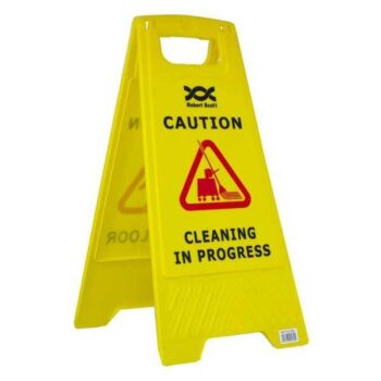 Cleaning in Progress Floor Stand Up Sign for Office or Industry