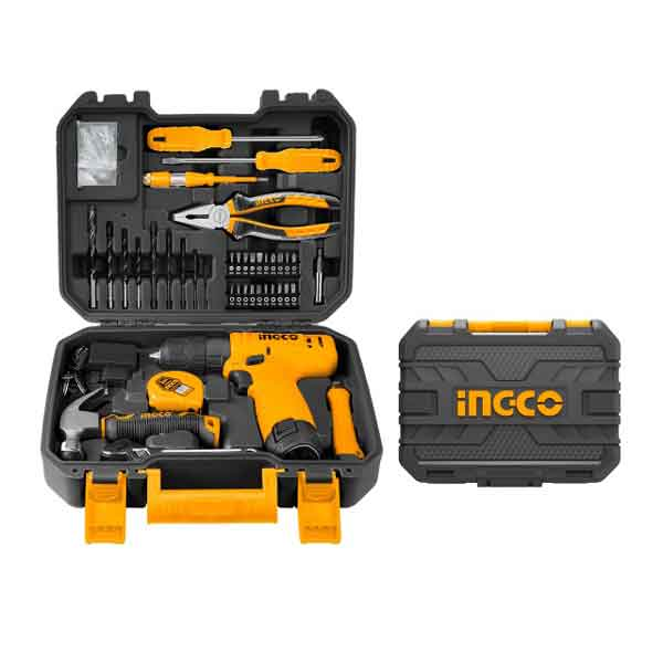 12V Super Select Cordless Drill Machine Set Ingco Brand with 81 Pieces Accessories