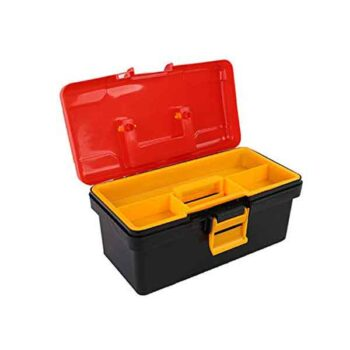 12 inch Plastic Tool Box with Tray (Red and Black) - Best Price - fixit bd